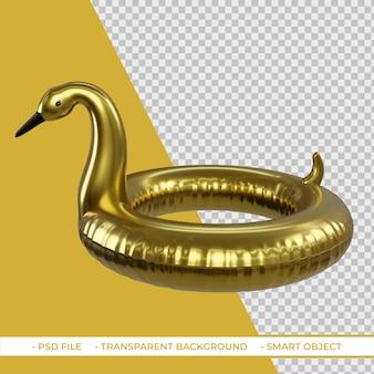 3d letni złoty pływak flamingo na białym tle