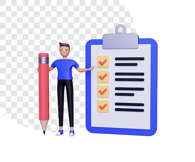 3d lista kontrolna z męskim charakterem trzymającym ołówek