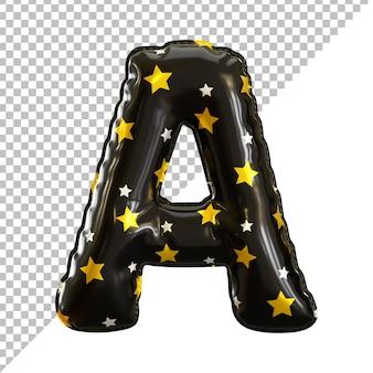 3d litera alfabetu czarny balon foliowy motyw halloween
