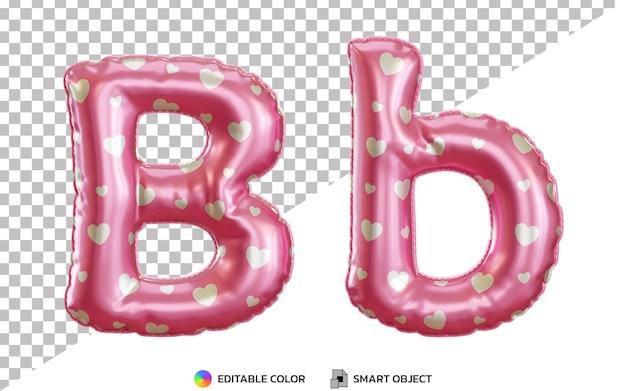3d litera b alfabet z różową folią helową, wielkie i małe litery