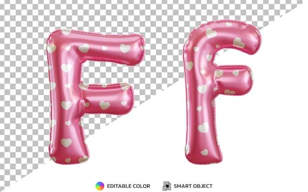 3d litera f różowy alfabet z balonu foliowego helu z wzorem miłości, wielkimi i małymi literami