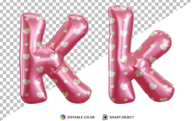 3d litera k alfabet z różowymi balonami z helem z wzorem miłości, wielkimi i małymi literami