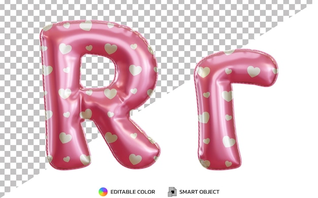 3d litera r różowy alfabet z balonem z helem z wzorem miłości, wielkimi i małymi literami