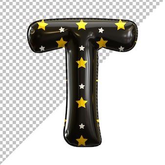 3d litera t alfabet czarny balon foliowy motyw halloween