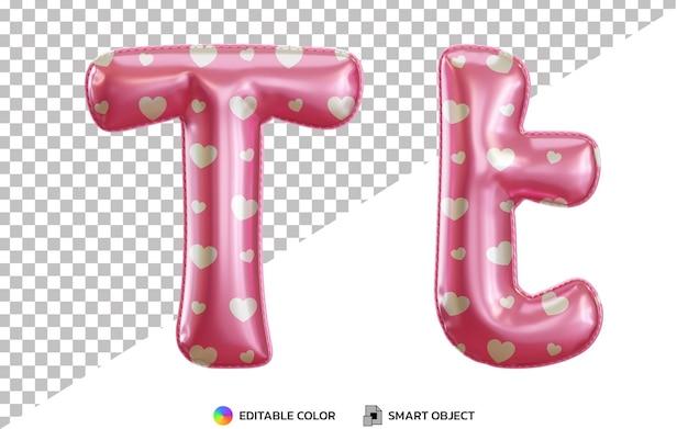 3d litera t alfabet z różowymi balonami z helem z wzorem miłości, wielkimi i małymi literami