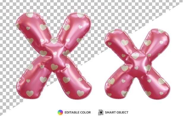 3d litera x alfabet z różowymi balonami z helem z wzorem miłości, wielkimi i małymi literami