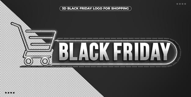 3d logo czarnego piątku na zakupy z białym podświetlanym neonem