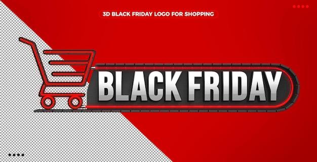 3d logo czarnego piątku na zakupy z czerwonym podświetlanym neonem