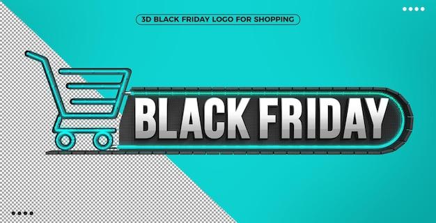 3d logo czarnego piątku na zakupy z niebieskim podświetlanym neonem