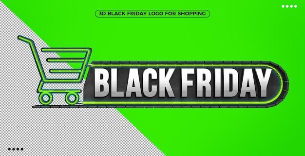 3d logo czarnego piątku na zakupy z zielonym podświetlanym neonem