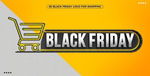 3d logo czarnego piątku na zakupy z żółtym podświetlanym neonem