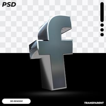 3d logo facebooka w metalicznym kolorze