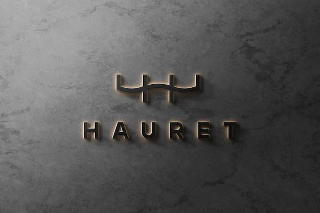 3d logo makieta luksusowy świecący przód 3d