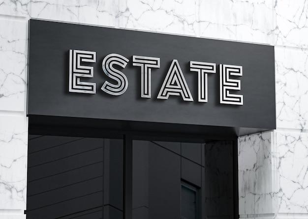 3d logo makieta realistyczny znak billboardu na białym marmurowym budynku