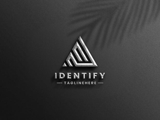 3d luksusowe srebrne logo makieta