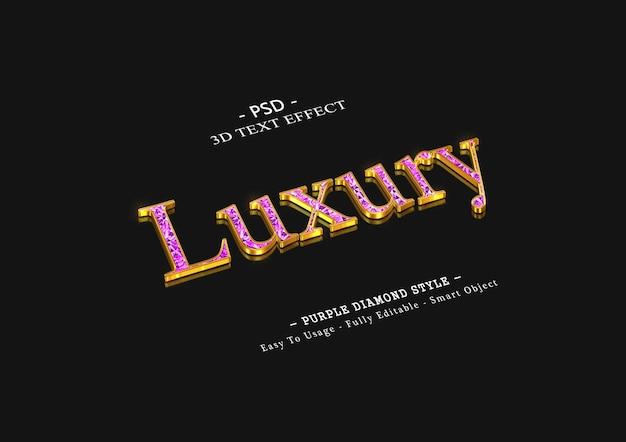 3d luksusowy efekt tekstowy fioletowy diament diamond