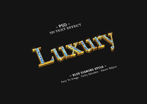 3d luksusowy efekt tekstowy niebieskiego diamentu
