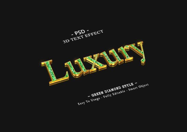 3d luksusowy efekt tekstowy zielonego diamentu