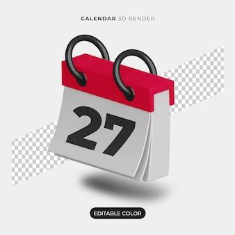 3d makieta ikona kalendarza na białym tle