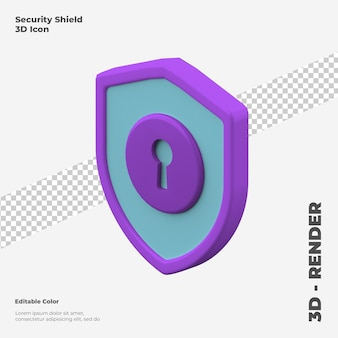 3d makieta ikona tarczy bezpieczeństwa na białym tle