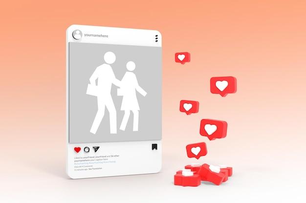 3d makieta instagram aplikacja social media post concept