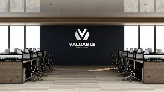 3d makieta logo firmy w przestrzeni roboczej biura