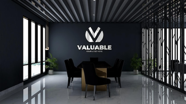 3d makieta logo firmy w przestrzeni spotkań w biurze