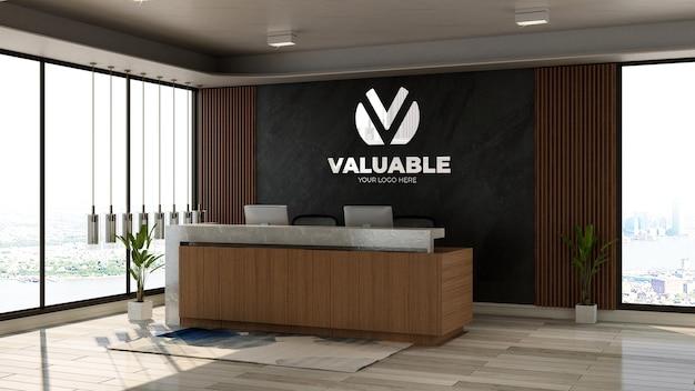 3d makieta logo firmy w recepcji biurowej lub pokoju recepcjonisty z drewnianym motywem wnętrza