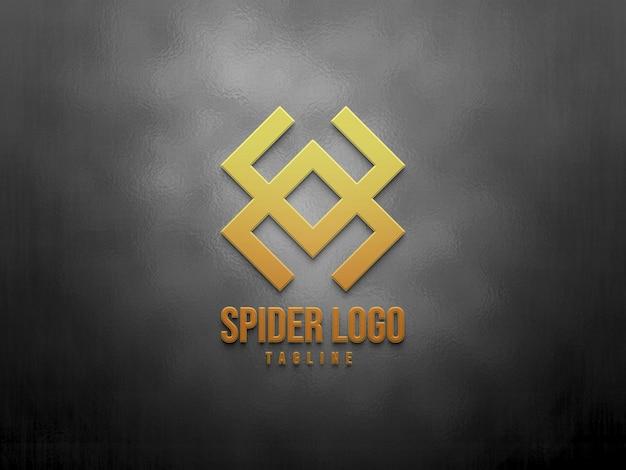 3d makieta logo gradientu na tle tekstury
