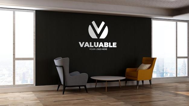 3d makieta logo na ścianie w poczekalni w holu biurowym z dwoma krzesłami do relaksu