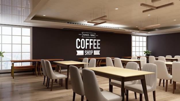 3d makieta logo ściany w restauracji lub kawiarni z drewnianym wystrojem wnętrz