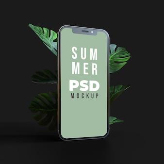 3d makieta smartfona z tropikalnym letnim liściem