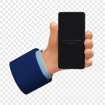 3d makieta telefonu komórkowego w ręku na białym tle renderowania 3d