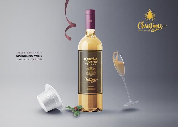 3d makiety wina musującego lub szampana na nowy rok