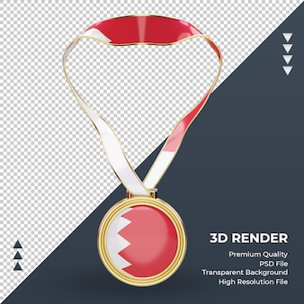 3d medal flaga bahrajnu renderująca widok z przodu
