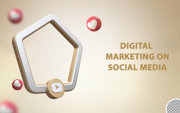 3d media społecznościowe youtube z makietą ramki