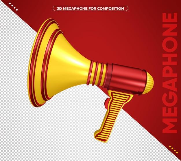 3d megafon czerwony i żółty dla kompozycji na białym tle