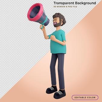 3d męska postać mówiąca do megafonu