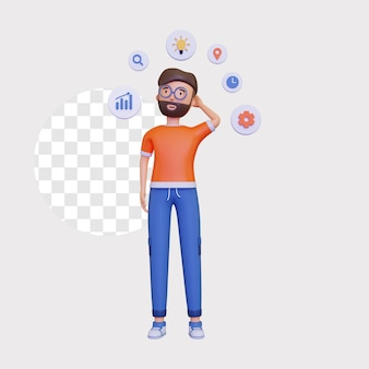 3d męska postać stoi, pokazując mapę myśli