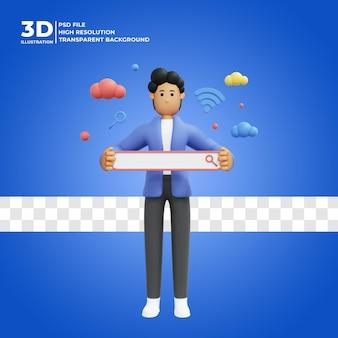 3d męska postać szukająca informacji w internecie z ikoną pola wyszukiwania premium psd