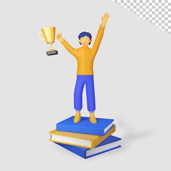 3d męska postać trzymająca trofeum