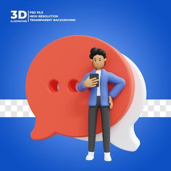 3d męska postać używa telefonu komórkowego do czatowania premium psd