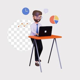 3d męski biznesowy charakter w pracy