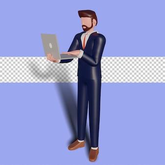 3d męski charakter gospodarstwa laptopa.
