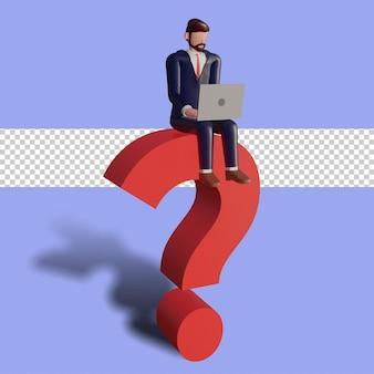 3d męski charakter pisze i siedzi na znaku zapytania.