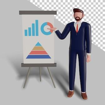 3d męski charakter robi prezentację.