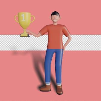 3d męski charakter trzyma trofeum. premium psd
