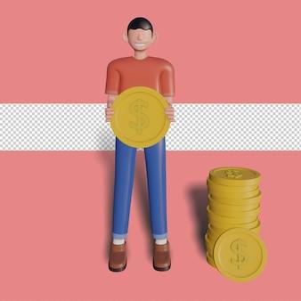 3d męski charakter trzymając monetę. premium psd