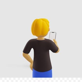 3d męski charakter trzymający smartfon