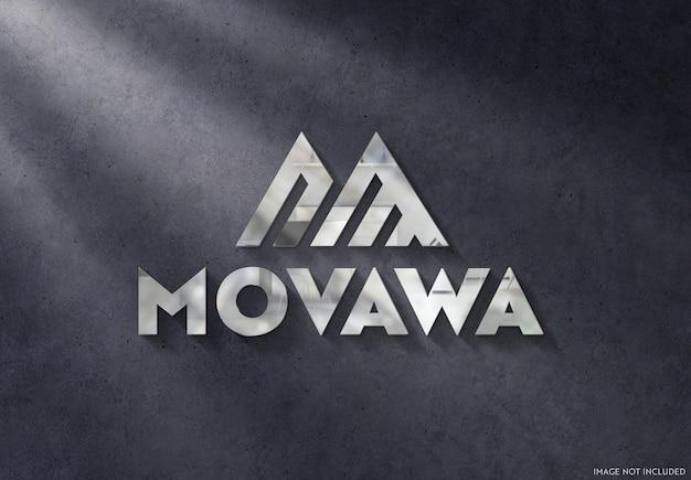 3d metal logo znak na makiecie ciemnej ściany